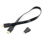 Combo HDMI Male til Male Video Audio Connection Cable w / Mini HDMI adapter - Sort