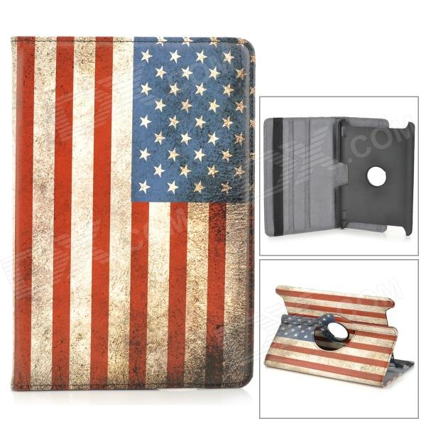 US National Flag 360 Degree Rotation PU Leather Case for Amazon Kindle Fire HDX 8.9 - Red + Blue for amazon 2017 new kindle fire hd 8 armor shockproof hybrid heavy duty protective stand cover case for kindle fire hd8 2017