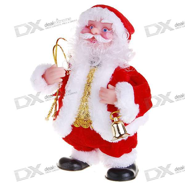 Bell Playing and Walking Santa Claus Christmas Toy with Music Effects (3*AAA)