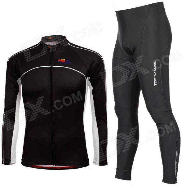 TOP CYCLING Cycling Polyester Long Sleeves Jersey + Spandex Silicone Cushion Pants for Men (XXL)