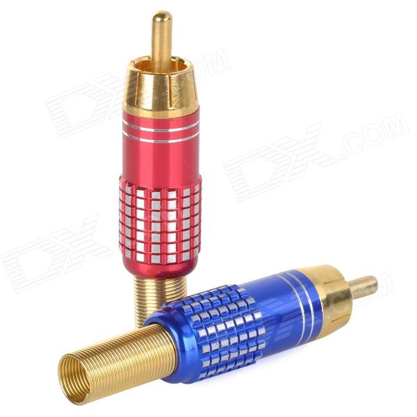 WLXY WL-3504 universal RCA Male Plug adaptador audio / video Conectores - Rojo + Azul (2 PCS)