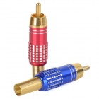 WLXY WL-3504 Universal RCA Male Plug Audio / Video Adapter Connectors - Red + Blue (2 PCS)