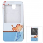 ENKAY Replacement Battery Cover Case w/ Auto Sleep / Display Window for Samsung Note 3 N9000 - Blue