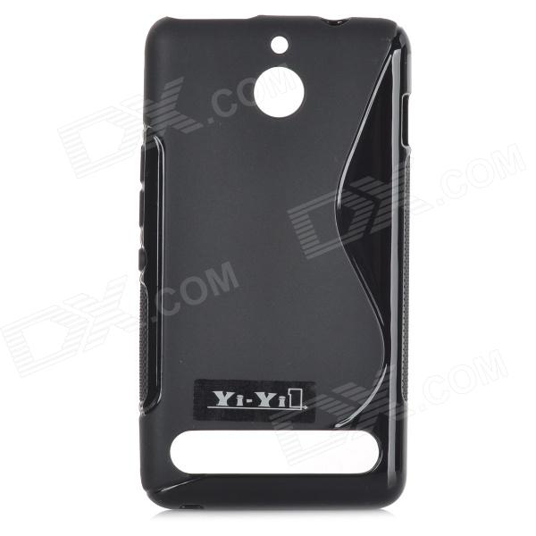 YI-YI Anti-skid ''S'' Shaped Protective TPU Back Case for Sony Xperia E1 - Black yi yi s shaped anti skid protective tpu back case for sony xperia e translucent grey