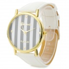 Woman's Stylish Stripe Pattern Analog Quartz Wristwatch - White (1 x 377)