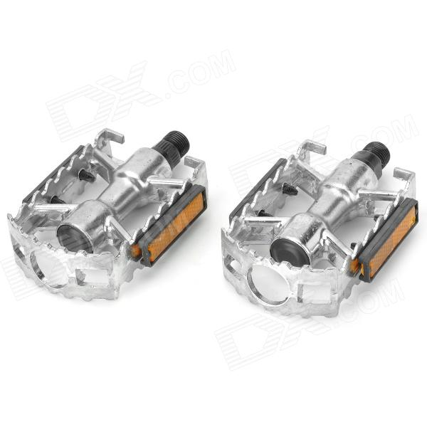 Bicycle Anti-slip Steel + Aluminum Alloy Pedals - Silver (2 PCS)