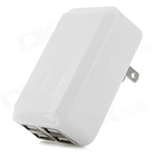 4-Port USB AC Power Adapter - White (2-Flat-Pin Plug / 110~240V) - DXAC Chargers<br>Color White Quantity 1 Piece Material ABS plastic Shade Of Color White Compatible Models IPHONE 5SIPHONE 5CIPHONE 5IPHONE 4IPHONE 4SIPHONE 3gsIPHONE 3gIPAD airIPAD MINI 2(IPAD MINI WITH RETINA DISPLAY)IPAD MINI (1ST GENERATION)IPAD 4THE NEW IPAD(IPAD 3)IPAD 2IPOD TOUCH 5IPOD TOUCH 4IPOD TOUCH 3IPOD TOUCH 2IPOD TOUCH 1IPOD NANO 7IPOD NANO 6IPOD NANO 5IPOD SHUFFLE 4IPOD SHUFFLE 3IPOD SHUFFLE 2IPOD SHUFFLE 1IPOD CLASSIC Plug Specifications US Plug (2-Flat-Pin Plug) Cable Length 0 cm Input 110~240V Output DC 5V / 3.1A Other Features With 4-port USB interface; Single USB output is 3.1A dual-USB output is 1A / 2.1A; No specified USB output power with charging indicator. Packing List 1 x US plug power adapter<br>