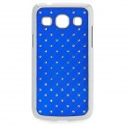 Rhombus Style Rhinestone Protective Plastic Back Case for Samsung G3502 - Deep Blue + Silver