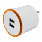 Flipping US Plug Dual USB Output Power Adapter w/ LED Ring Indicator - White + Orange
