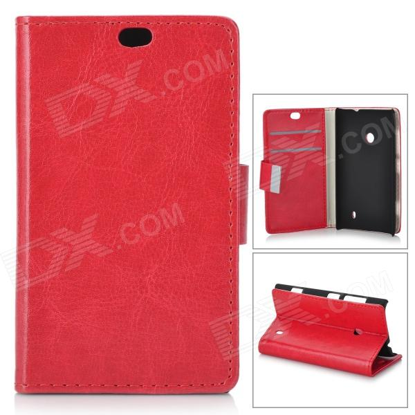 Universal Protective PU + PC Flip Open Case w/ Stand / Card Slots for Nokia 525 / 520 - Red battery ac car charger set for canon digital ixus series ixus 800 is more
