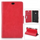 Universal Protective PU + PC Flip Open Case w/ Stand / Card Slots for Nokia 525 / 520 - Red
