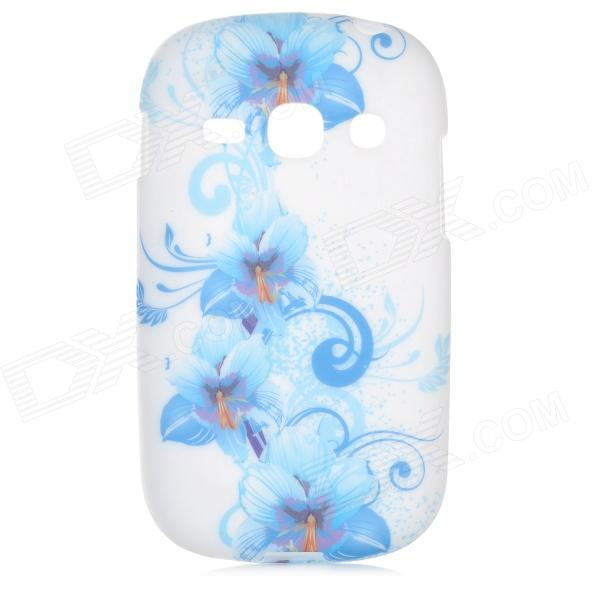 Flowers Style Protective TPU Back Case for Samsung Galaxy Fame S6812 / S6810 - Blue + White