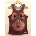 Y-558 Men's Stylish 3D Monkey Pattern Cotton I-shaped Vest - Brown + Black (M)