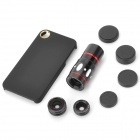 4-en-1 Téléobjectif 10X + Macro + Grand angle + Fish Eye Lenses Set pour IPHONE 4 / 4S-Noir