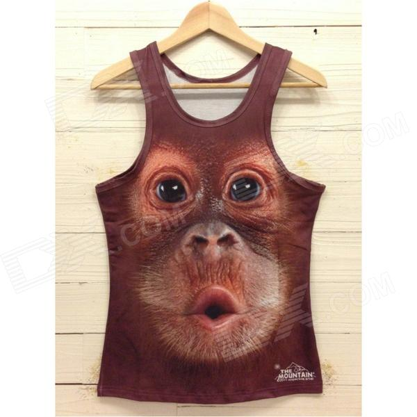 Y-558 Men's Stylish 3D Monkey Pattern Cotton I-shaped Vest - Brown + Black (XL)