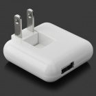 Rotatable USB AC Power Charger Adapter - White (2-Flat-Pin Plug / 110~240V)