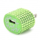 TX-053 Rhinestone USB AC Power Adapter - Green (2-Flat-Pin Plug)