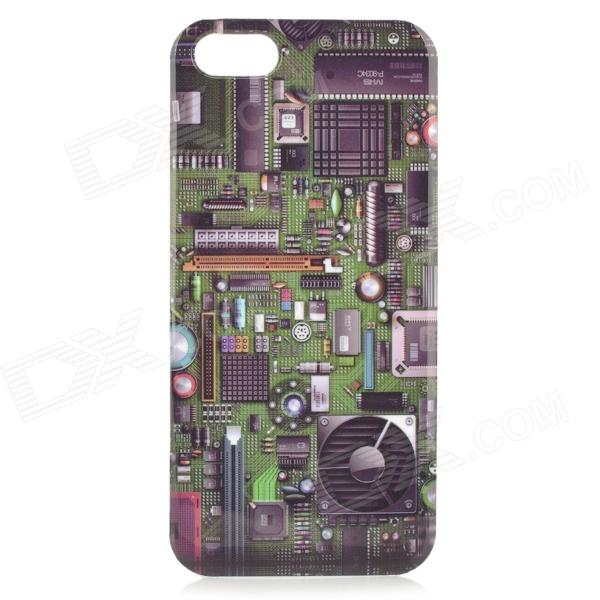 Circuit Board Style Protective Plastic Back Case for IPHONE 5 / 5S - Green + Multicolor