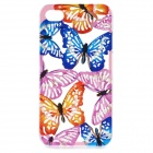 A1LJ Beautiful Butterfly Skeleton Plastic Back Case for IPHONE 4 / 4S - Blue + Pink