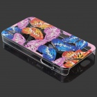 Beautiful Butterfly Skeleton Plastic Back Case for IPHONE 4 / 4S - Blue + Pink