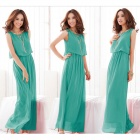 Fashionable Bohemia Style Beach Holiday Long Chiffon Dress - Grass Green