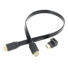 Combo HDMI Male to Male Connection Cable w/ 90 Degree Right Angle Female HDMI Adapter - Black