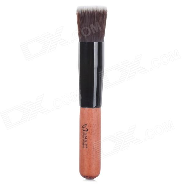 EMILY Multifunctional Professional Cosmetic Make-Up Foundation Soft Brush - Red Brown + Black