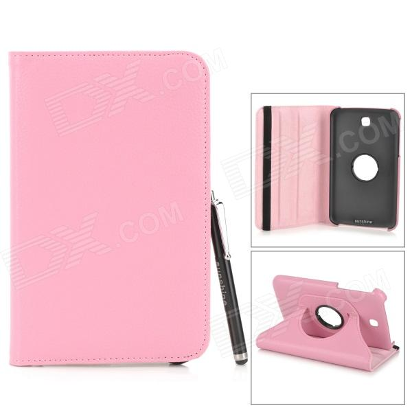 Protective PU Leather Case w/ Stylus Pen for Samsung Tab 3 7.0 T210 / T211 / P3200 / P3210 - Pink protective pu leather case w stylus pen for samsung tab 3 7 0 t210 t211 p3200 p3210 orange