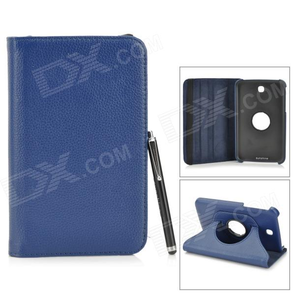 Protective PU Leather Case w/ Stylus for Samsung Tab 3 7.0 T210 / T211 / P3200 / P3210 - Dark Blue protective pu leather case w stylus pen for samsung tab 3 7 0 t210 t211 p3200 p3210 orange