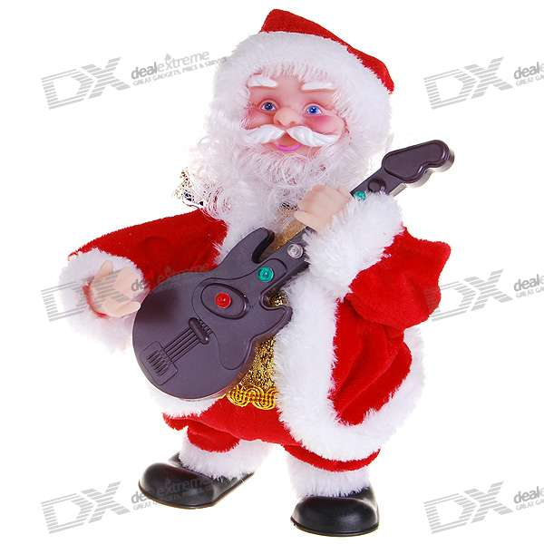 Guitar Playing and Walking Santa Claus Christmas Toy with Music Effects (3*AAA)