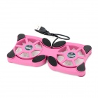 USB Powered Dual-Fan Laptop Computer Cooling Gear Stand - Black + Fuschia