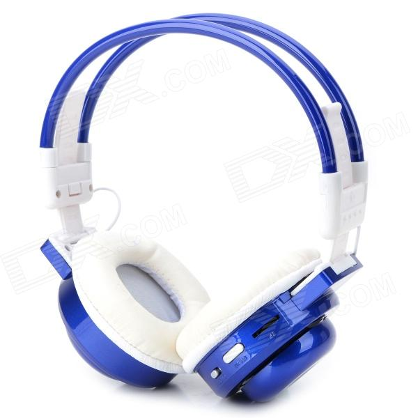 BS-361 Folding Stereo Bass Headphones w/ TF / FM / Speaker - Deep Blue + White