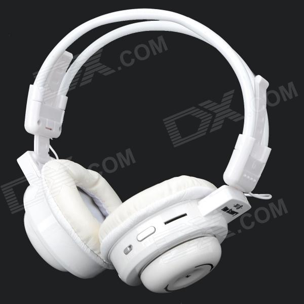 BS-361 Fold-up Retractable Headband Headphone w/ TF / FM / Mini USB / 3.5mm - White + Silver