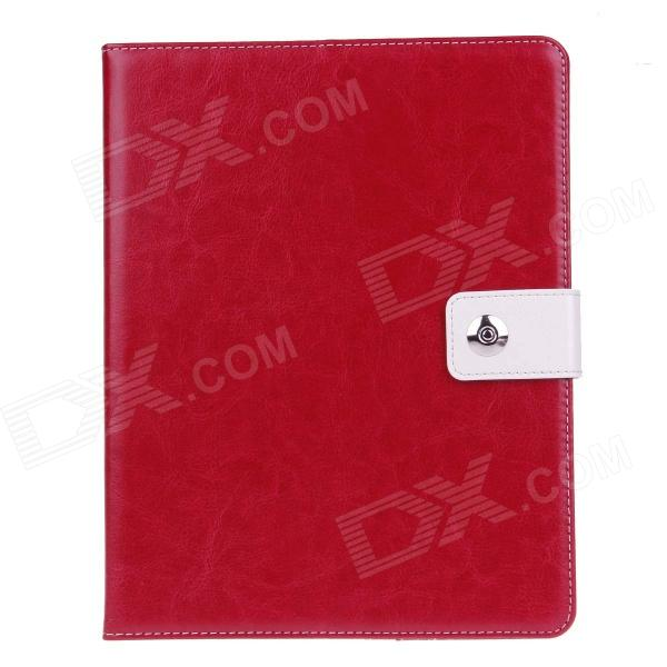 Stylish PU Leather Case Cover Stand w/ Auto Sleep / Card Holder for IPAD 2 / 3 / 4 - Red multi function pu leather case vent holes sound amplifier for ipad 3 4 red