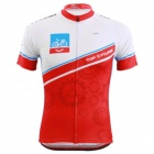 TOP CYCLING SAE273 Cycling Dacron Short Sleeves Jersey for Men - Red + White (Size L)