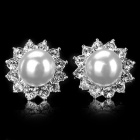 Fashionable Elegant Shiny Crystal & Pearl Studded Earring - White (2 PCS)