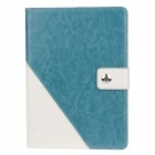 Stylish PU Leather Case Cover Stand w/ Auto Sleep / Card Holder for IPAD AIR - Lake Blue + White