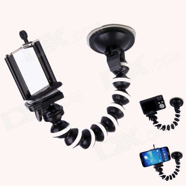 "10.6"" Octopus Monopod Suction Cup Mount Holder for Camera / GPS / IPHONE / Samsung - Black + White"