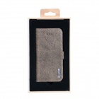 Remax Pure Genuine Calfskin Leather Protective Flip-open Case for IPHONE 5 / 5S - Brownish Grey
