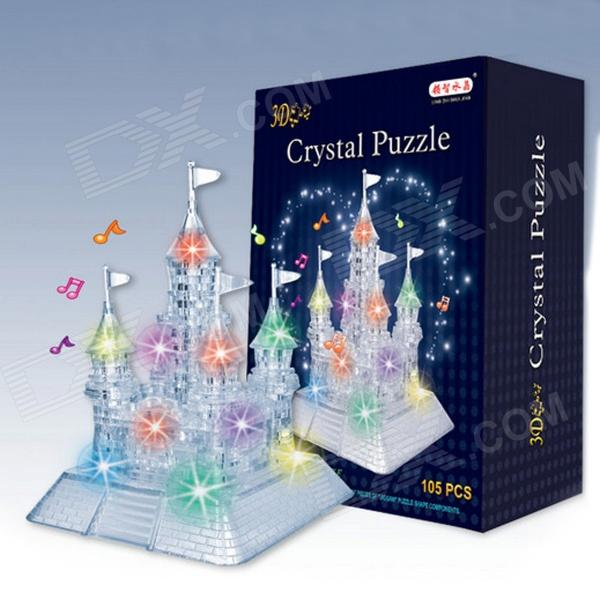 CQ 3D Castle Style Plastic Puzzle w/ LED Music Light Toy - Translucent White