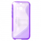 """S"" Style Protective TPU + PC Back Case w/ Stand for HTC ONE 2 (M8) - Purple + Transparent"