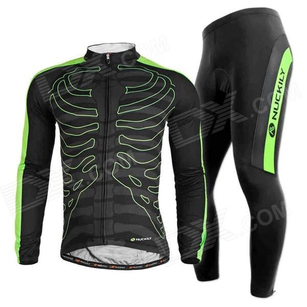 NUCKILY CJ122 CK122 Cycling Long Sleeves Jersey + Pants for Men - Black + Green (Size L)