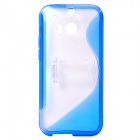 """S"" Style Protective TPU + PC Back Case w/ Stand for HTC ONE 2 (M8) - Blue + Transparent"