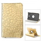 Stylish Flip-open PU + ABS Case w/ 360' Rotating Back for Samsung P3200 - Golden