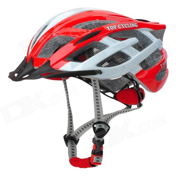 W / 3-Mode TOPCYCLING T800 Ciclismo bicicleta PC + EPS Helmet Light - Red + White (1 x CR2032)