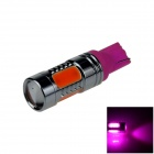 T10 / 194 / 168 / W5W 7.5W 400lm 495nm 5-COB LED Purple Car Steering Light / Tail Light - (12~24V)