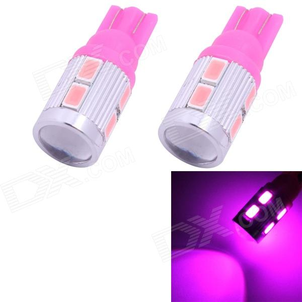 T10 5W 350lm 10 x SMD 5630 LED Pink Car Clearance Lamp / Signal Light w/ Lens - (DC 12V / 2 PCS) 1x car styling car auto led t10 194 w5w canbus 10 smd 5630 led light bulb no error led light parking t10 led car side light