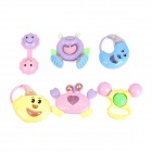 Cute PP Plastic Baby Rattles Series - Light Purple + Pink + Multi-Colored (6 PCS)