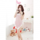 B04 Cute Sexy See-through Bunny Costume Wear Set - White + Light Pink (4 PCS)