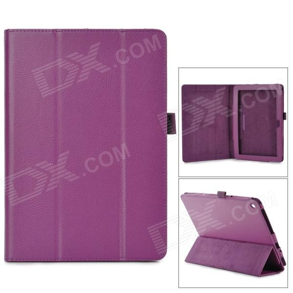 Stylish Flip-open PU Leather Case w/ Holder for ACER Iconia A3~A10 10.1 - Purple triple folding design plastic pu leather full body case for acer iconia a3 a20